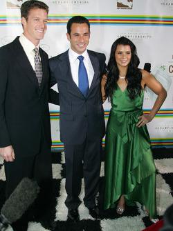 Paul Hospenthal, Helio Castroneves and Danica Patrick