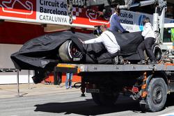 El auto chocado de Fernando Alonso, McLaren
