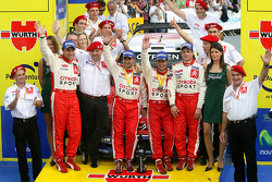 Podium: rally winners Sébastien Loeb and Daniel Elena celebrate with François Duval, Sven Smeets, Guy Fréquelin and Citroën Sport team members