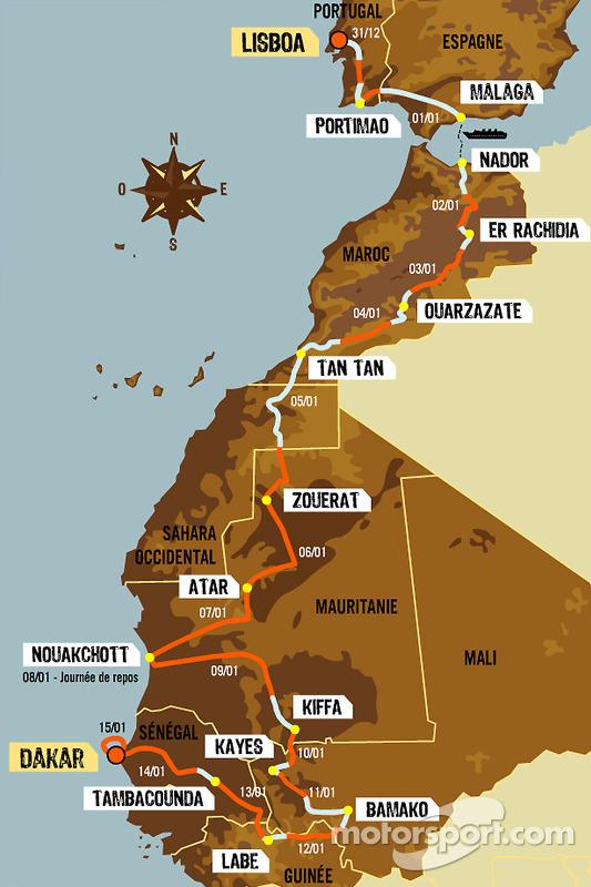 Classement général: 15e étape, du 31 décembre 2005 au au 15 janvier 2006, de Lisbonne à Dakar