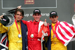 Podium: race winner Sean Macintosh with Marcus Marshall and Alex Yoong