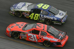 Jeff Burton and Jimmie Johnson battle for the lead