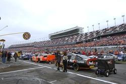 Cars gridded in pit lane