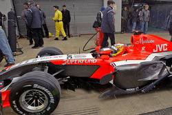 Tiago Monteiro takes part in pitstop practice for the Midland F1 team at Silverstone