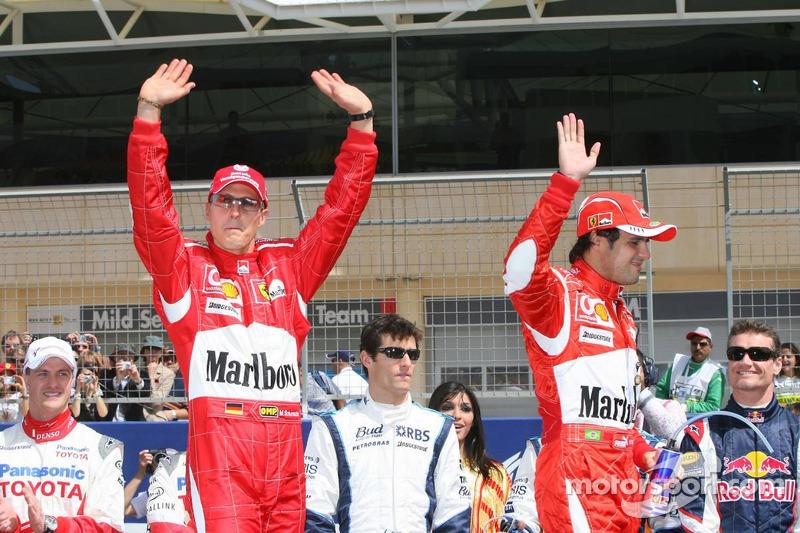 Drivers presentation: Michael Schumacher and Felipe Massa
