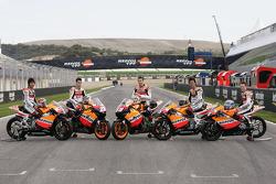 Repsol MotoGP, pilotos de 250 y 125: Dani Pedrosa, Nicky Hayden, Sebastian Porto, Shuhei Aoyama y Bradley Smith