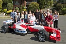 Ralf Schumacher visit the cast of 'Neighbours'