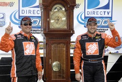 Victory lane: race winner Tony Stewart celebrates with Greg Zipadelli