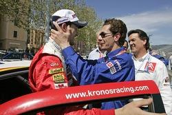 Daniel Sordo celebrates third place finish with Marc Van Dalen
