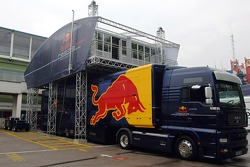 Setup of the Red Bull Energy Station and paddock area: Tuesday
