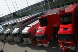 McLaren and Ferrari transporters