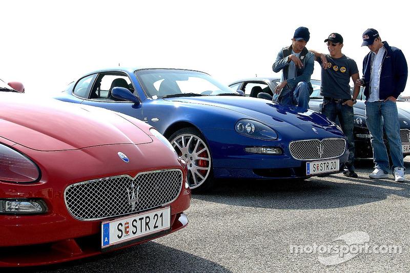 Vitantonio Liuzzi, Christian Klien et Scott Speed avec les nouvelles Maseratis