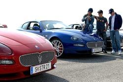 Vitantonio Liuzzi, Christian Klien and Scott Speed with their new Maseratis