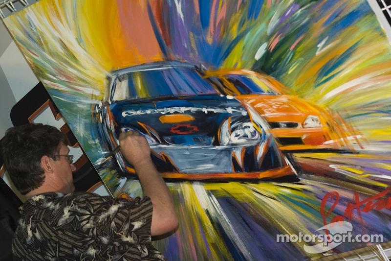 Un artiste peint la victoire de Kevin à Phoenix