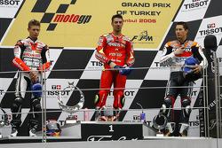 Podium: race winner Marco Melandri with Casey Stoner and Nicky Hayden