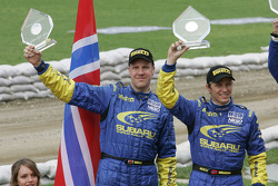 Podium: second place Petter Solberg and Phil Mills