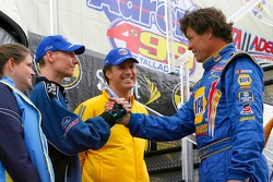 Actor Will Ferrell and mine survivor Randy McCloy greet Michael Waltrip