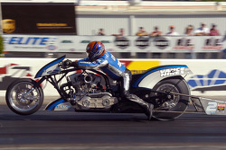 Doug Vancil, hanging on for dear life, placed first in Nitro Harley