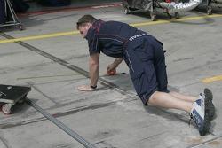 A Red Bull Racing crew member