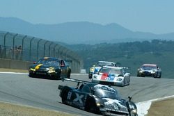Race action at the top of the corkscrew