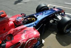 Vitantonio Liuzzi drives out of the garage