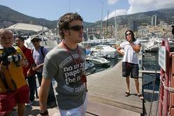 Fernando Alonso and his girlfriend Raquel del Rosario on a boat