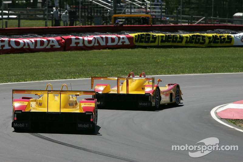 #7 Penske Motorsports Porsche RS Spyder: Timo Bernhard, Romain Dumas and #6 Penske Motorsports Porsche RS Spyder: Sascha Maassen, Lucas Luhr on their way to the victory