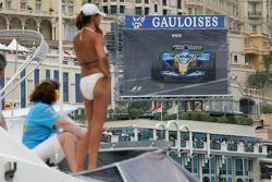 A lovely lady watches Fernando Alonso