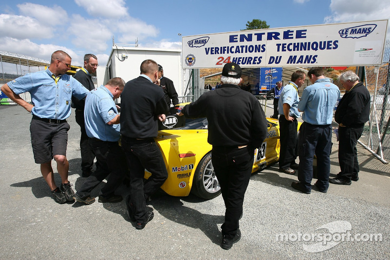 Corvette Racing Corvette C6-R enters scrutineering