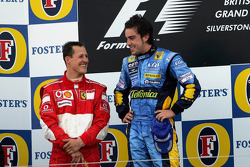 Podium: race winner Fernando Alonso and second place Michael Schumacher