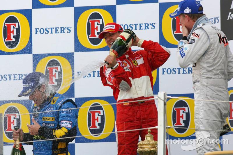 2006: 1. Fernando Alonso, 2. Michael Schumacher, 3. Kimi Räikkönen