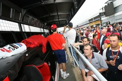 Fans check out Ferrari pitwall