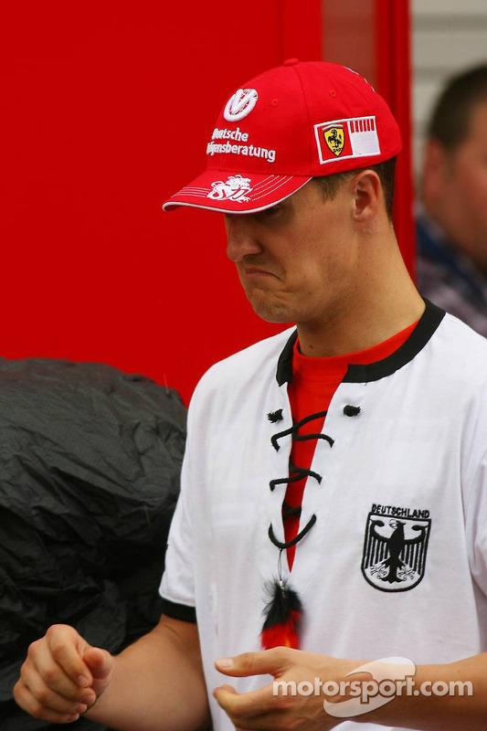 Michael Schumacher fête la victoire de l'Allemagne lors de la Coupe du monde