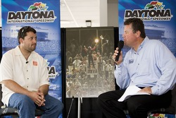 Tony Stewart talks with the media during a session moderated by Daytona International Speedway President Robin Braig