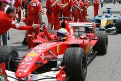 Felipe Massa celebrates podium finish