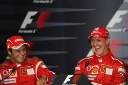 FIA  press conference: race winner Michael Schumacher with Felipe Massa