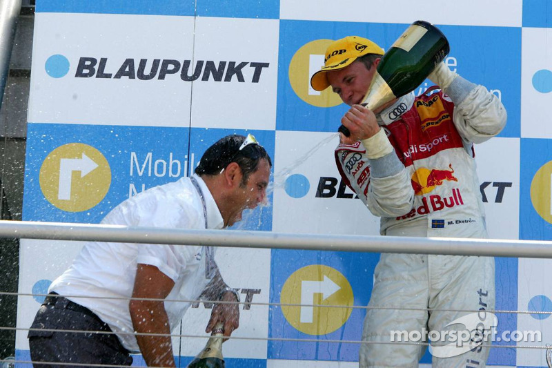 Podium: Mattias Ekström asperge de champagne Hans-Jurgen Abt