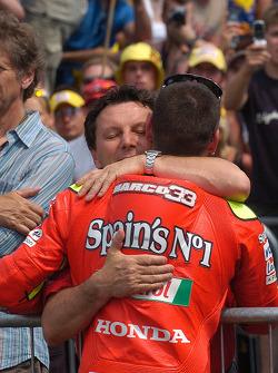 Marco Melandri celebrates podium finish