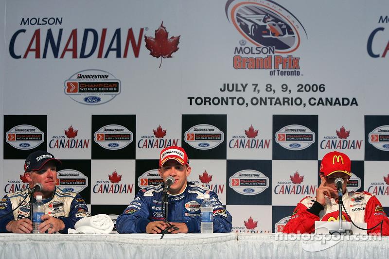 Conférence de presse : le vainqueur de la course A.J. Allmendinger avec Paul Tracy et Sébastien Bour