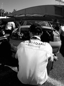 Flying Lizard Motorsports crew member at work