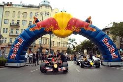 Running bulls rendez-vous in Budapest: the cars of Neel Jani and Robert Doornbos