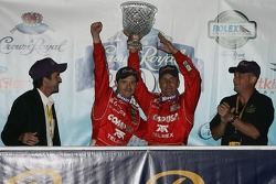 Podium: race winner Scott Pruett and Luis Diaz celebrate