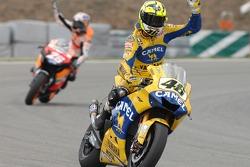 Valentino Rossi celebrates second place finish