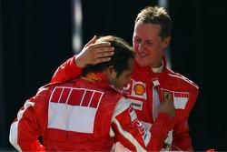 Michael Schumacher congratulates Felipe Massa