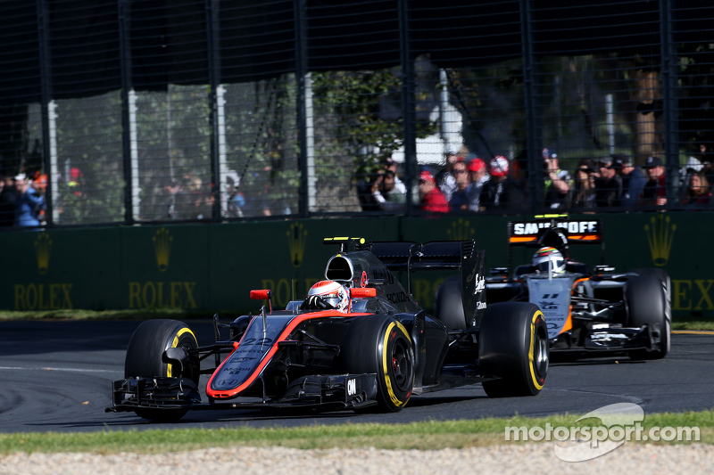 Jenson Button, McLaren Honda and Sergio Perez, Sahara Force India