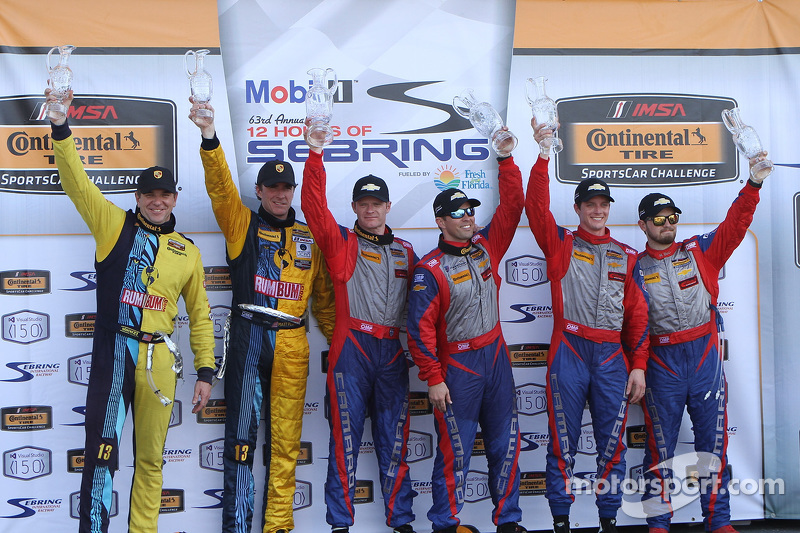 Podium: race winners Robin Liddell, Andrew Davis, Stevenson Motorsports, second place Lawson Aschenb