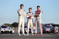 Mark Webber, Porsche Team; Anthony Davidson, Toyota Racing, und Loic Duval, Audi Sport Team Joest