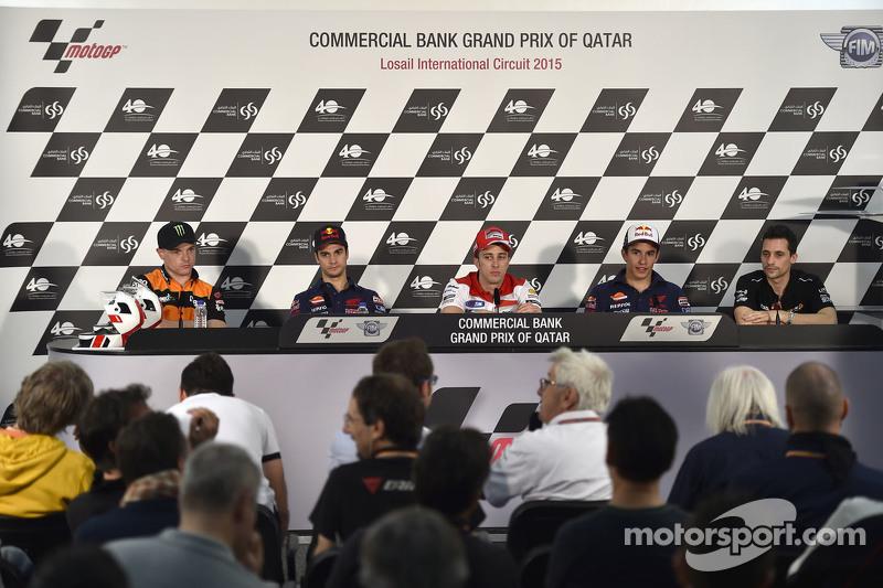 Dani Pedrosa, Repsol Honda Team; Andrea Dovizioso, Ducati Team, und Marc Marquez, Repsol Honda Team
