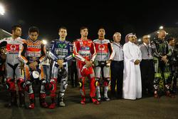 Danilo Petrucci, Marc Márquez, Jorge Lorenzo, Andrea Iannone, Yonny Hernandez y Bradley Smith
