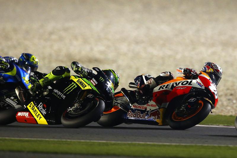 Dani Pedrosa, Repsol Honda Team; Pol Espargargo, Monster Tech 3 Yamaha, und Aleix Espargaro Team Suzuki MotoGP